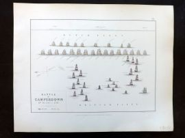 Alison & Johnston 1852 Battle Map. Battle of Camperdown. Naval Ships
